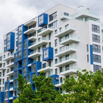 modern white and blue residential building, Chisinau, Moldova
